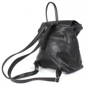 Сумка женская искусственная кожа Дила-007    (рюкзак) ,    1отд,    2внут+3внеш карм,    черный