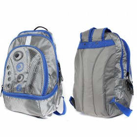 Рюкзак Арлион-236,    эргоном спинка,    ножки,    светоотр,    2 отд,    2внеш карм,    серый/синий    (рисунок)