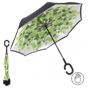 Зонт женский TR-0000. R=60см,    наоборот;    трость;    8спиц-сталь+fiber;    СМАРТ,    полиэстер,       (клен)    черный