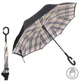 Зонт женский TR-0000. R=60см,    наоборот;    трость;    8спиц-сталь+fiber;    СМАРТ,    полиэстер,       (клетка)    черный