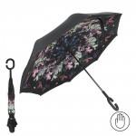 Зонт женский TR-0000. R=60см,    наоборот;    трость;    8спиц-сталь+fiber;    СМАРТ,    полиэстер,       (весенний букет)    черный