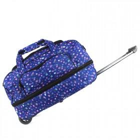 """Сумка на колесах AMeN-М-22-1р  (24"""")  дорож  (Дизайн),  трансф низ,  1отд,  1внеш карм,  плечевой ремень,  синий  (цветы)  210540"""