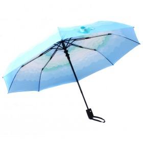Зонт женский 10565-5,  R=56,  полуавт;  8спиц-сталь;  3слож;  полиэстер,  голубой 211118