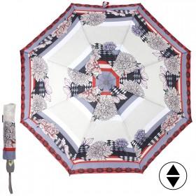 Зонт женский TR-3915В,  R=56,  суперавт;  8спиц-сталь;  3слож;  полиэстер,   (цветы)  серый 211530