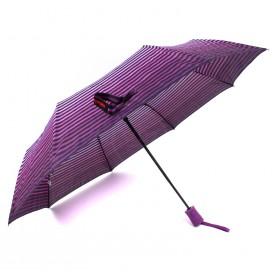 Зонт женский TR-35179,  R=56,  полуавт;  8спиц-сталь;  3слож;  полиэстер,   (полоски)  фиолетовый 211648