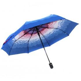 Зонт женский 10565-5,  R=56,  полуавт;  8спиц-сталь;  3слож;  полиэстер,  синий 211681