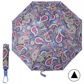 Зонт женский TR-5412BG,  R=56см,  полуавт;  8спиц-сталь+fiber;  3слож;  полиэстер,  (узор)  синий 211691