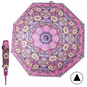 Зонт женский TR-5412BG,  R=56см,  полуавт;  8спиц-сталь+fiber;  3слож;  полиэстер,  (узор)  розовый 211695