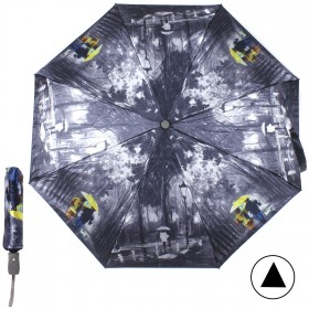 """Зонт женский TR-3571,    R=56см,    полуавт;    8спиц-сталь+fiber;    3слож;    сатин,   """"  Прогулка""""   серый"""