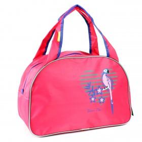 Сумка дорожная SilverTop-4195 Транзит,    б/подклада,    жесткое дно,    ножки,       (попугай)    розовый/фиолет
