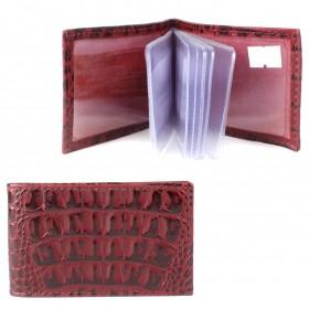Визитница PRT-ФВ-1 (18 листов)  натуральная кожа винный кайман  211955