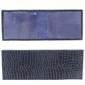 Обложка для удостоверения PRT-У-50 натуральная кожа синий крокодил-11 211989