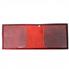 Обложка Croco-у-600 (для удостоверения)  натуральная кожа красный игуана (73)  212249