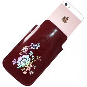 Футляр для мобильного телефона F-4-03 Цветы,    фольга,    красный тем гладкий   (138)