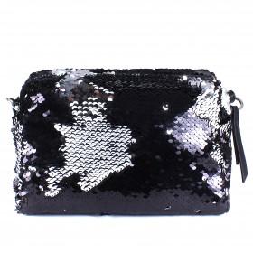 Сумка женская текстиль ADEL-114 (отделка ИСК/КОЖА),  1отд,  плечевой ремень,  черный sequins 213210