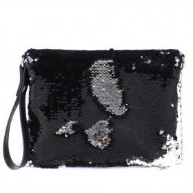 Сумка женская текстиль ADEL-51,  1отд,  ремень-цепочка,  петл на руку,  черный sequins 213223