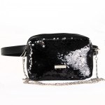 Сумка женская иск/кожа+текстиль ADEL-125   (поясная) ,    1отд,    рем-цепочка,    ремень/пояс,    черный sequins