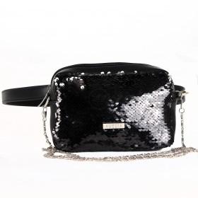 Сумка женская иск/кожа+текстиль ADEL-125 (поясная),  1отд,  рем-цепочка,  ремень/пояс,  черный sequins 213229