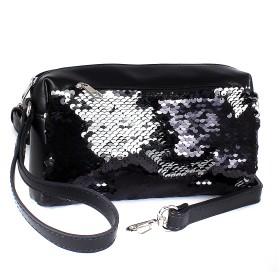 Сумка женская иск/кожа+текстиль ADEL-132,  3отд,  плечевой ремень,  петля на руку,  черный sequins 213230