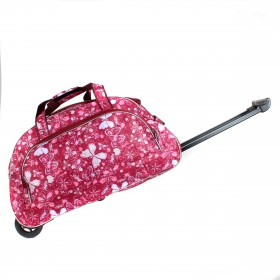 "Сумка на колесах AMeN-К-2  (24"")  дорож  (Дизайн),  1отд,  1внеш карм,  бордо  (цветы и бабочки)  213674"