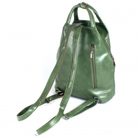 Сумка женская искусственная кожа GR-1646    (рюкзак) ,    1отд,    2внут+3внеш карм,    св.зелен масло