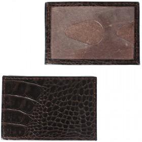 Обложка пропуск/карточка/проездной Croco-В-200 натуральная кожа коричневый кайман   (62)