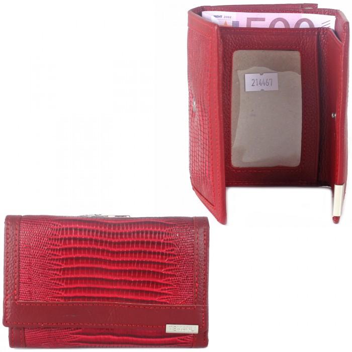 Кошелек женский натуральная кожа Temanli-517A-UD 6B-1588 (вставка иск/к),  защелка снаружи,  3отд+7карм,  красный 214467