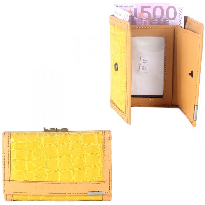 Кошелек женский натуральная кожа Temanli-517A-UD 6Р-89 (вставка иск/к),  защелка внутри,  3отд+7карм,  желтый 214468