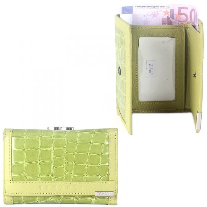 Кошелек женский натуральная кожа Temanli-517A-UD 6Р-81 (вставка иск/к),  защелка внутри,  3отд+7карм,  зеленый 214469