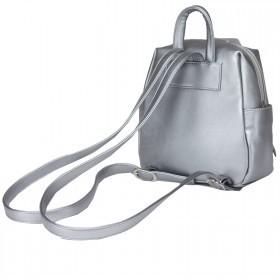 Сумка женская искусственная кожа GR-1616    (рюкзак-мини) ,    1отд,    3внут+3внеш карм,    тем.серебро