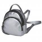Сумка женская искусственная кожа GR-1615    (рюкзак-мини) ,    2отд,    2внут+2внеш карм,    тем.серебро