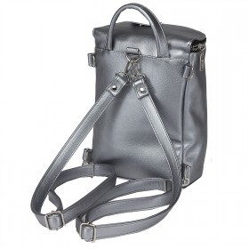 Сумка женская искусственная кожа GR-1407    (рюкзак) ,    1отд,    1внут+1внеш карм,    тем.серебро