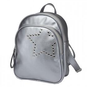 Сумка женская искусственная кожа GR-1589    (рюкзак) ,    2отд,    2внут+1внеш карм,    серебро    (звезда)