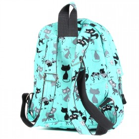 Рюкзак детский TL-РД-04,    прост спинка,    1отд,    1внут+1внеш карм,    котята на зеленом