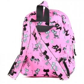 Рюкзак детский TL-РД-04,    прост спинка,    1отд,    1внут+1внеш карм,    котята на розовом