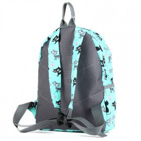 Рюкзак детский TL-РД-03,    прост спинка,    1отд,    1внут+3внеш карм,    кошки бирюзовые