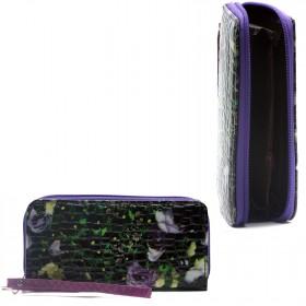 Кошелек женский искусственная кожа 000,    на 1 молнию,    6отд,    8 карм,    ручка/петля,    черный/зеленый