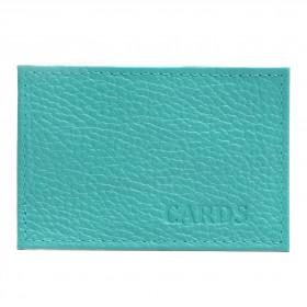Обложка пропуск/карточка/проездной Croco-В-200 натуральная кожа бирюза флотер   (110)