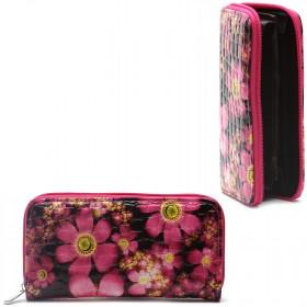 Кошелек женский искусственная кожа 7811,    на 1 молнию,    6отд,    8карм,      (цветы) ,    розовый
