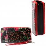 Кошелек женский искусственная кожа 000,    на 1 молнию,    6отд,    8 карм,    ручка/петля,    черный/розовый