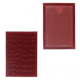 Обложка пропуск/карточка/проездной Premier-V-41 натуральная кожа красный камушки (105)  216534