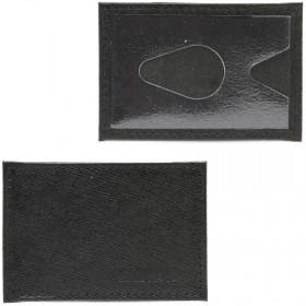 Обложка пропуск/карточка/проездной Croco-В-200 натуральная кожа черный сафьян (221)  216801