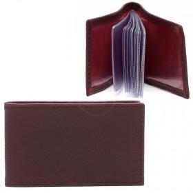 Визитница PRT-ФВ-1 (18 листов)  натуральная кожа бордо клементин 216890