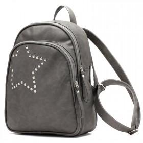 Сумка женская искусственная кожа GR-1589    (рюкзак) ,    2отд,    2внут+1внеш карм,    серый    (звезда)