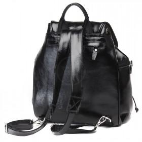 Сумка женская натуральная кожа Варвара-390   (рюкзак) ,    1отд,    2внут+2внеш карм,    черный наплак   (4058)