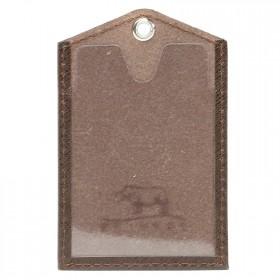 Обложка пропуск/карточка/проездной Premier-V-42 натуральная кожа коричнево-серый сафьян   (555)