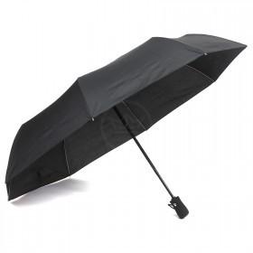Зонт муж RST-3032B,    R=56см,    суперавт;    8 спиц-сталь+fiber,    3слож,    полиэстер черный