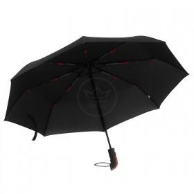 Зонт муж RST-3429B,    R=54см,    суперавт;    8 спиц-сталь+fiber,    3слож,    полиэстер черный