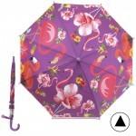 Зонт детский RST-046,    R=48см,    полуавт;    8спиц-сталь;    трость;    полиэтилен,    фиолетовый фламинго