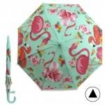 Зонт детский RST-046,    R=48см,    полуавт;    8спиц-сталь;    трость;    полиэтилен,    светло-зеленый    (фламинго)